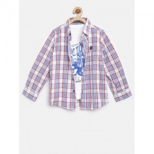 Mothercare White & Blue Cotton Checked Clothing Set