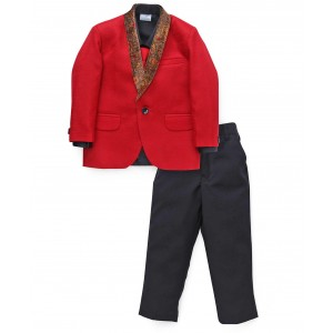 Babyhug Red & Black Four Piece Party Suit