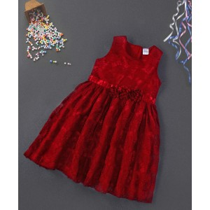 Babyhug Maroon Sleeveless Party Frock Floral Appliques