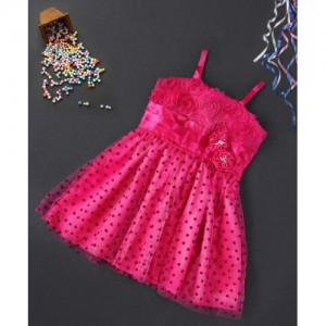 Babyhug Fuchsia Singlet Party Frock Flower Applique