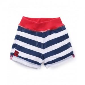 Little Kangaroos White & Navy Blue Printed Shorts
