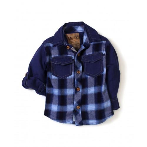 Little Kangaroos Navy Blue Printed Two Pockets Shirt