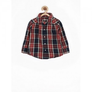 Gini & Jony Red & Navy Cotton Checked Shirt