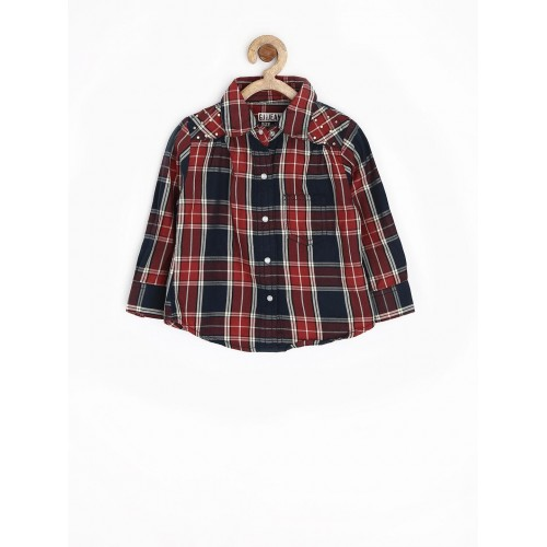 Gini & Jony Red & Navy Cotton Checked Shirt