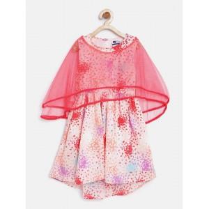 612 league Girls Peach-Coloured Printed Fit & Flare Dress