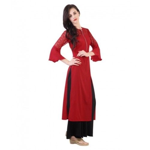 Buy Shree Wow Red Crepe Straight Kurti Online Looksgudin