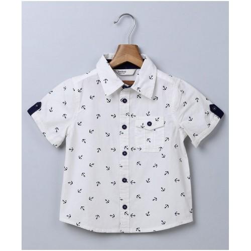 Beebay White Half Sleeves Anchor Print Shirt