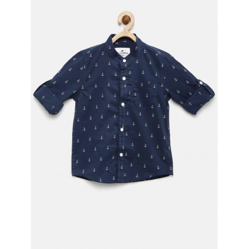 Juniors by Lifestyle Navy Blue Printed Casual Shirt