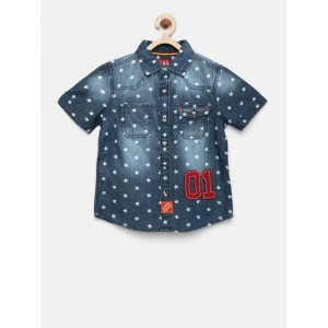 CHALK by Pantaloons Blue Denim Regular Fit Printed Casual Shirt