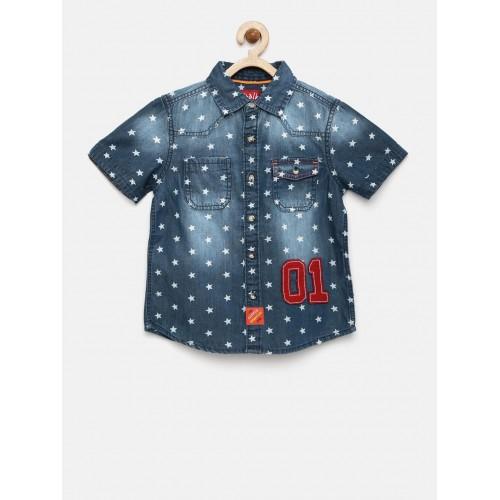 CHALK by Pantaloons Blue Denim Regular Fit Printed Casual Shirt