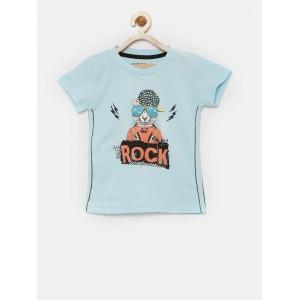 Gini and Jony Boys Blue Printed Round Neck T-shirt