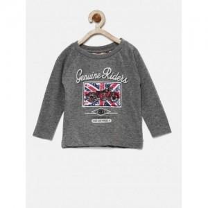 Gini & Jony Grey Melange Printed Round Neck T-shirt