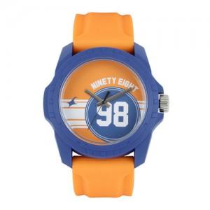 Fastrack Unisex Orange & Blue Printed Dial Watch