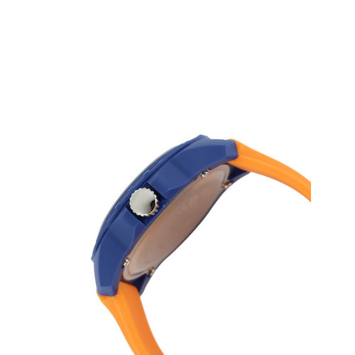 Fastrack Unisex Orange & Blue Printed Dial Watch