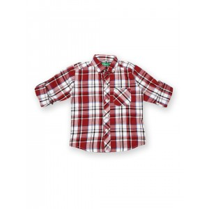 Gini and Jony Boys Red & White Checked Shirt