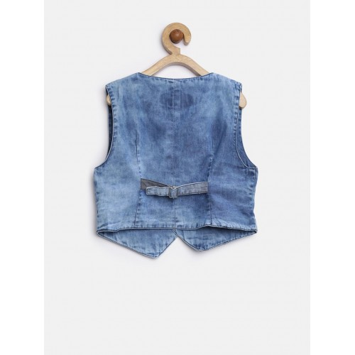 GJ Unltd Jeans by Gini & Jony Boys Blue Washed Denim Waistcoat