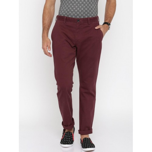 a4c4f0195d5 Buy French Connection Men Maroon Chinos Trousers online | Looksgud.in