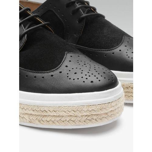 Carlton London Women Black Leather Brogues