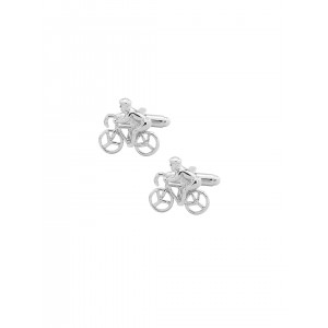 The Tie Hub Silver-Toned Cycle-Shaped Cufflinks