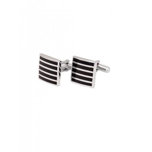 The Tie Hub Silver-Toned & Black Square Cufflinks