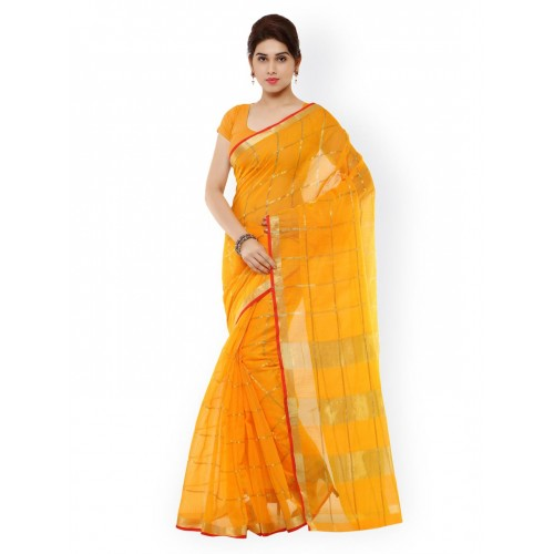 Kvsfab Yellow Checked Cotton & Silk Traditional Saree