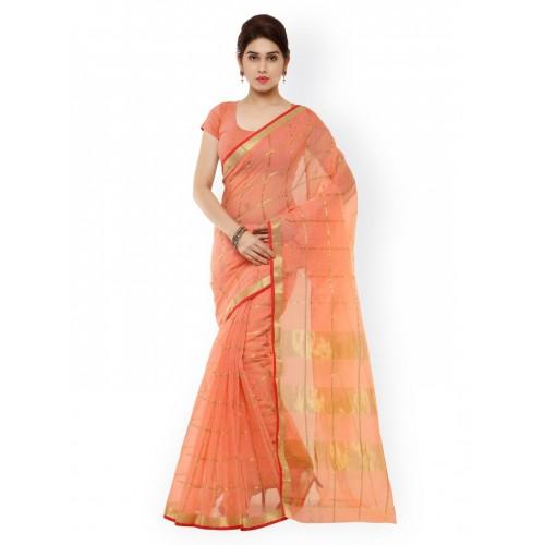 Kvsfab Peach-Coloured Checked Cotton & Silk Traditional Saree