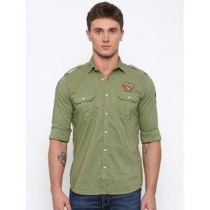Pepe Jeans Men Olive Green Slim Fit Solid Casual Shirt