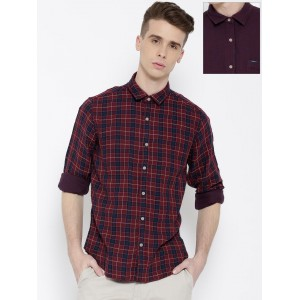 Pepe Jeans Maroon & Bugundy Checked Semi Fit Reversible Casual Shirt