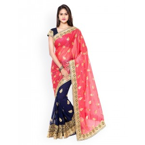 Kvsfab Red & Navy Lycra & Faux Georgette Embellished Saree