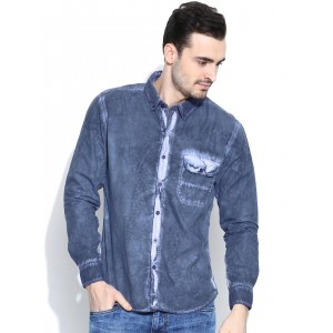 John Players Blue Trim Fit Casual Shirt with Washed Effect