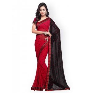 Mirchi Fashion Red Georgette Printed Saree