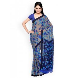 Vaamsi Blue & Grey Chiffon Printed Saree