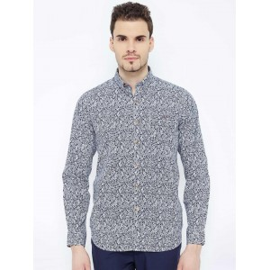 Wills Lifestyle Men Navy Slim Fit Printed Casual Shirt