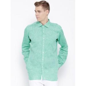 Wills Lifestyle Sea Green Linen Slim Semiformal Shirt