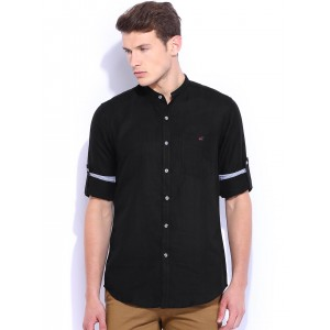 Wills Lifestyle Black Eloy Slim Fit Linen Casual Shirt