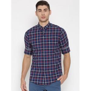 Wills Lifestyle Men Navy Slim Checked Casual Shirt