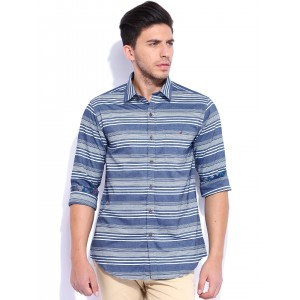 Wills Lifestyle Blue & White Striped Slim Fit Casual Shirt