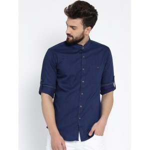 Wills Lifestyle Men Navy Slim Solid Chambray Casual Shirt