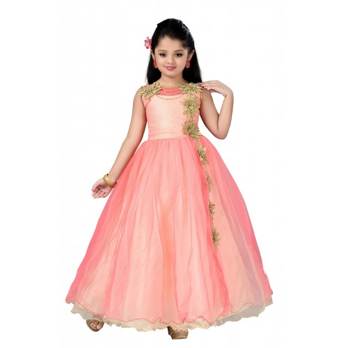 b6a1372a4 Buy Aarika Girls Self Design Net Fabric Birthday Special Ball Gown ...