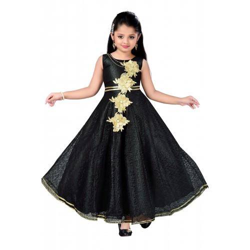 bee3d43fa Buy Aarika Girls Self Design Flower Net Fabric Party Wear Ball Gown ...
