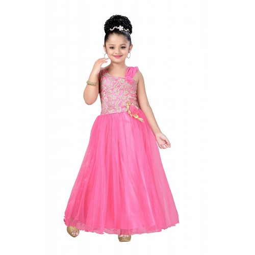 6fbdc455963 Buy Aarika Girls Self Design Net Fabric Party Wear Ball Gown online ...