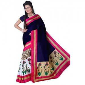 SVB Saree Multicolor Bhagalpuri Silk Block Print Saree With Blouse