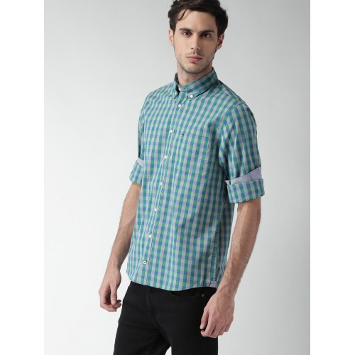 Tommy Hilfiger Blue & Green Cotton Printed Shirt