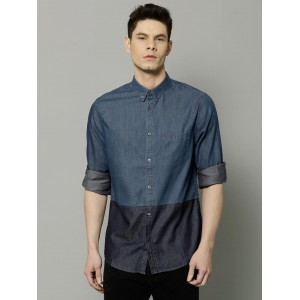 French Connection Men Blue Denim Casual Shirt