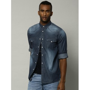 French Connection Men Navy Blue Solid Casual Denim Shirt