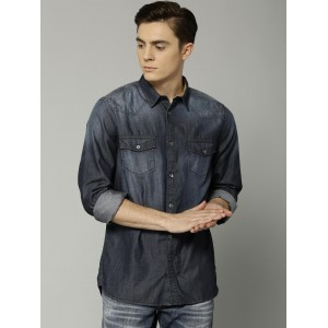 French Connection Men Navy Blue Denim Casual Shirt