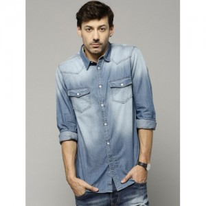 French Connection Blue Washed Denim Shirt
