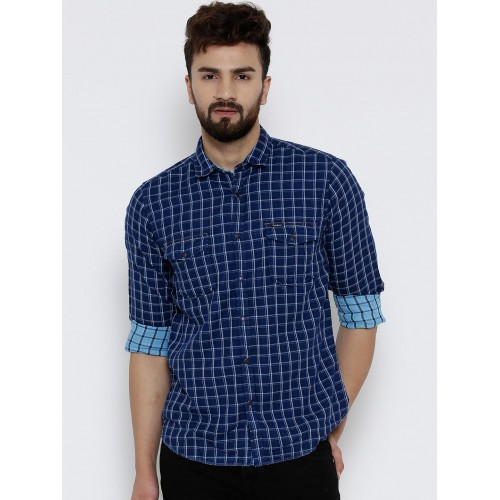 Pepe Jeans Navy Blue Cotton Checked Casual Shirt