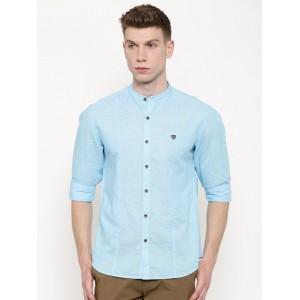 John Players Men Blue Self-Design Trim Fit Casual Shirt