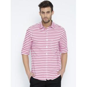 John Players Men Pink Striped Trim Fit Casual Shirt